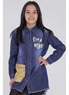 Silversun Kids Açık Denim Baskılı Payetli Etek Ucu Püsküllü Kız Çocuk Gömlek Gc 312821